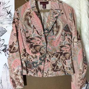 JONES WEAR JEANS Pink Paisley Velvet Crop Jacket …